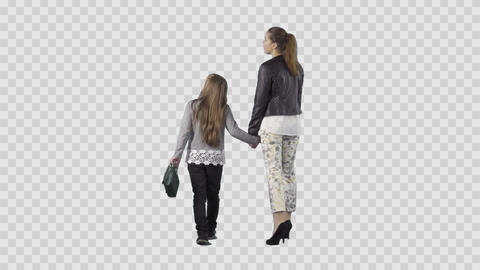 Beautiful young woman and daughter are walking from the camera. Alpha channel Footage