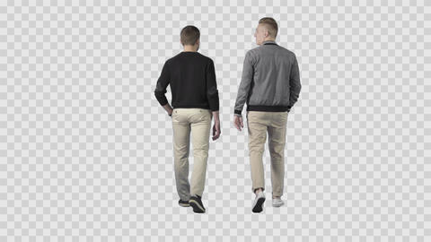 Two males in casual clothes are walking from the camera and talking. Alpha chann Footage