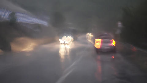 View through windshield of car during the rain Footage