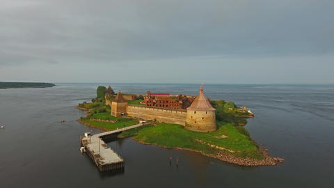 Aerial view on fortress Oreshek, Russia, 4k Footage