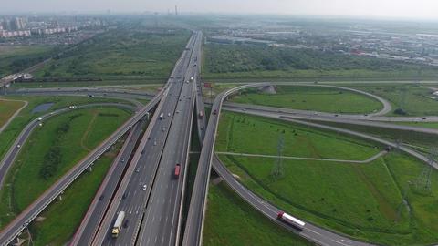 Aerial view on roads junction in St. Petersburg Footage