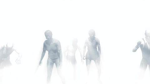 Zombies emerge from the mist Animation