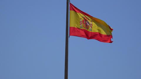 Spanish Flag Waving On Flagpole Live Action