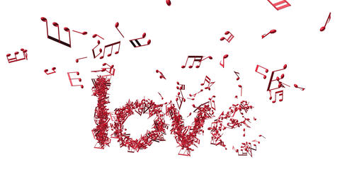"Word "" love"" in shape of music notes zoomout Animation"