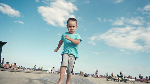 116 little boy funny runs Footage
