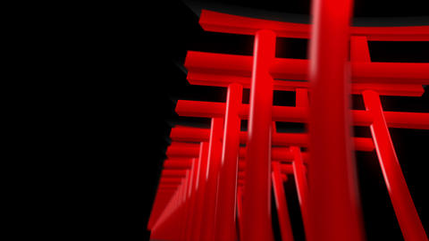 Red Torii Gates in Japan,CG Animation,Loop Animation