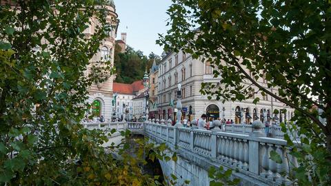 Time lapse of The three bridges in Ljubljana Live Action