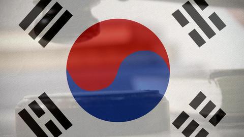 Digital composite of South Korean flag 4k Animation