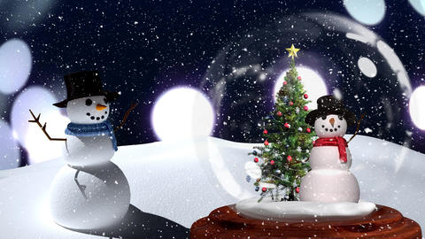 Cute Christmas animation of snowman couple against bokeh background 4k Animation