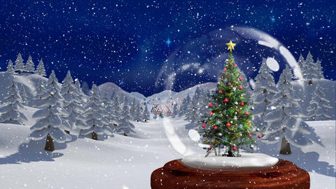 Beautiful Christmas animation of Christmas tree in the magical forest at night 4k Animation