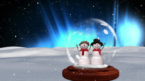Cute Christmas animation of snowman against shiny background 4k Animation