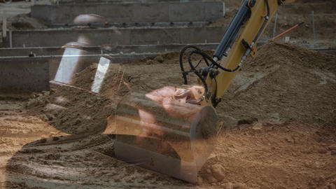 Digital animation of excavator digging soil at construction site 4k Animation