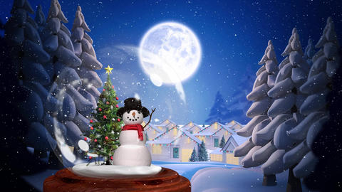 Cute Christmas animation of snowman and tree 4k Animation