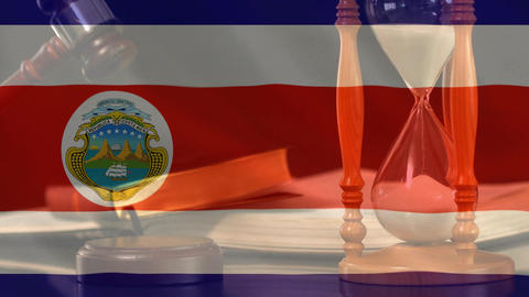 Digitally composite of grunge Costa Rica Flag and hour glass 4k Animation