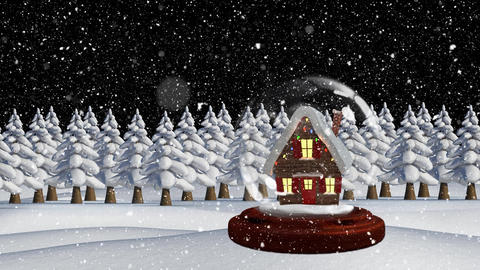 Cute Christmas animation of illuminated hut 4k Animation