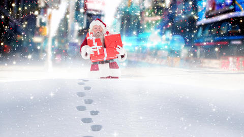 Santa clause wandering through high snow combined with falling snow Animation