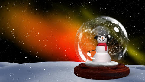 Christmas animation of snowman couple on snowy landscape 4k Animation