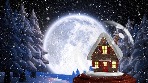 Christmas animation of Christmas house in forest 4k Animation