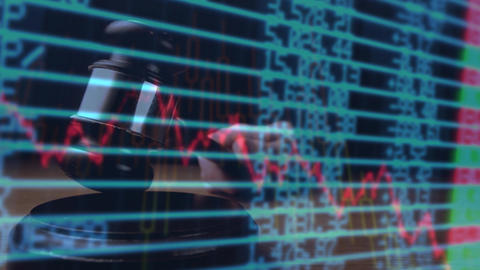 Digital animation of a business graph against the financial figures on the screen 4k Animation