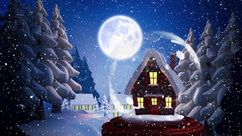 Cute Christmas animation of illuminated hut and moon 4k Animation
