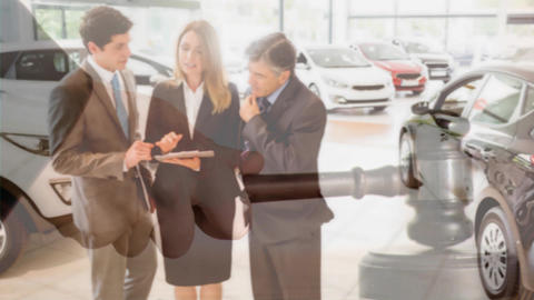 Digital animation of executives interacting in car showroom 4k Animation