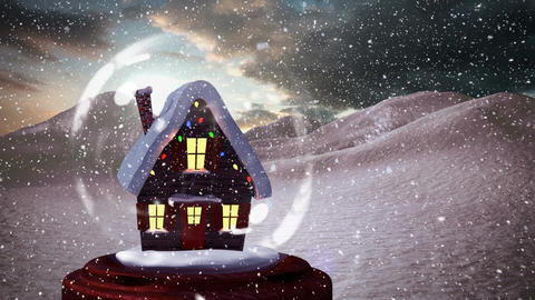 Christmas animation of snow house in snow globe 4k Animation