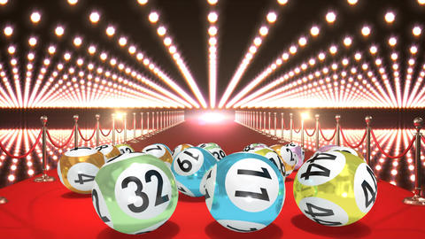Lottery balls on red carpet video Animation