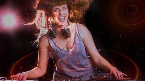 Digital animation showing smiling disco jockey mixing music in pub 4k Animation