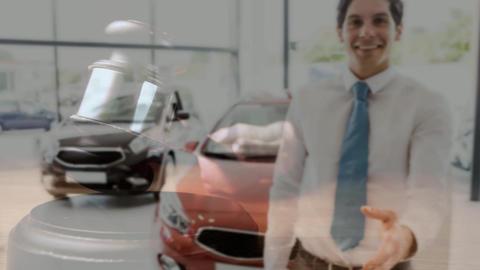 Digital animation of sales executive gesturing in car showroom 4k Animation