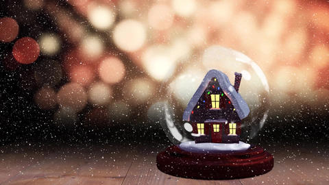 Cute Christmas animation of hut in snow globe 4k Animation
