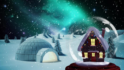 Christmas animation of hut in snow globe in magical forest 4k Animation