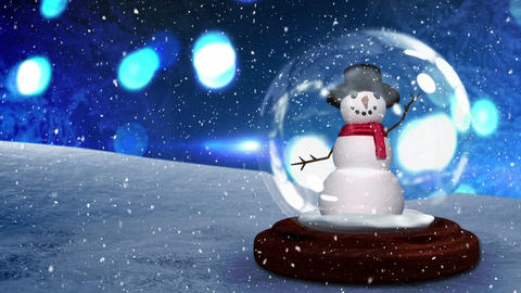 Cute Christmas animation of snowman in snow globe 4k Animation