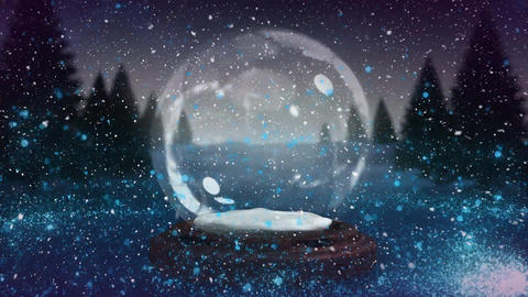 Digital animation of blue glitter sparkles wave moving around snow globe in magical forest 4k Animation