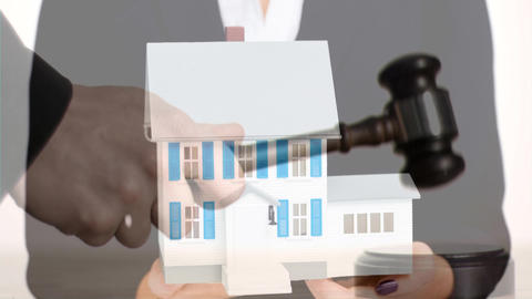 Digital animation of female real estate agent holding house model 4k Animation