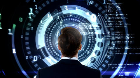 Man standing infront of digital animated data Animation