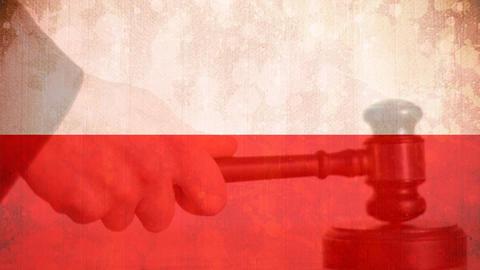 Digitally composite of grunge Poland Flag and gavel 4k Animation