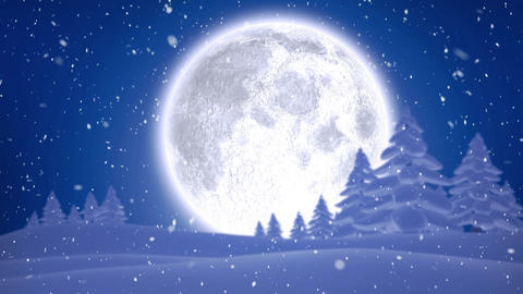 Winter scenery with full moon and falling snow Animation
