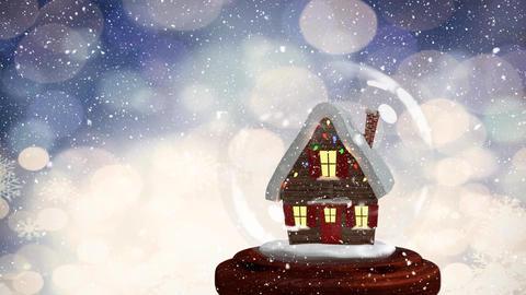 Christmas animation of hut in snow globe 4k Animation