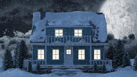 Video composition with snow over night winter scenery with with house Animation