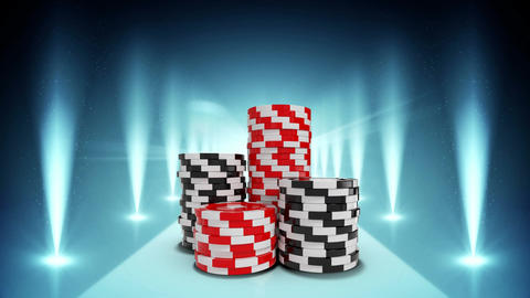 Black and red poker chips video Animation