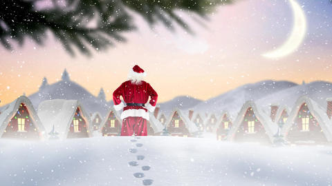 Santa clause in winter scenery combined with falling snow Animation