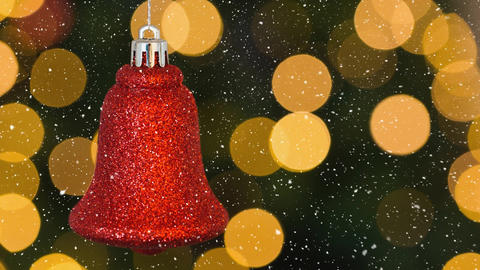 Falling snow and Christmas bell decoration Animation