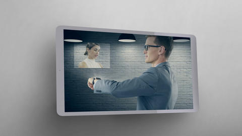Tablet showing Man using Smartwatch to communicate Video Animation
