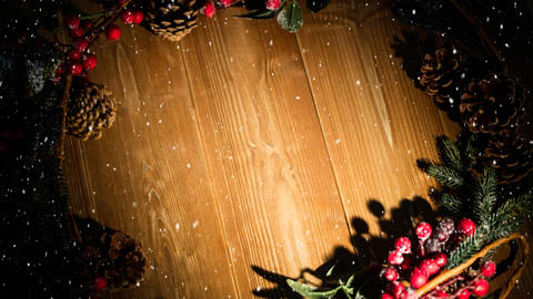 Falling snow with Christmas holly decoration Animation