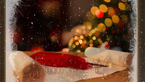 Video composition with snow over room with Christmas decorations viewed through icy window Animation