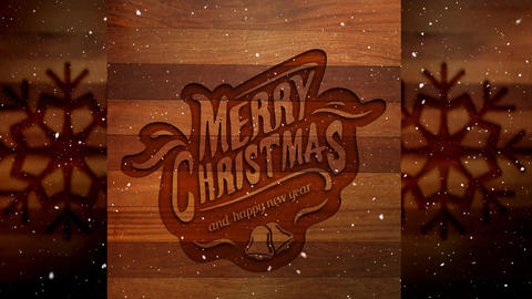 Video composition with snow over Christmas greeting on wood Animation