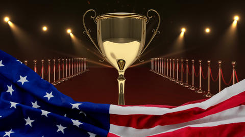 Trophy on red carpet with american flag Video Animation