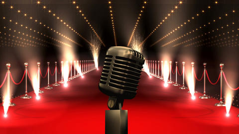 Microphone on red carpet with american flag Video Animation