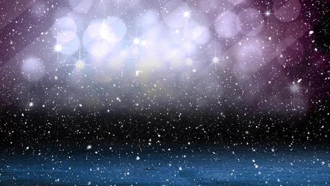 Falling snow with bokeh light Christmas circles and wood Animation
