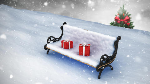 Bench in winter scenery and falling snow Animation